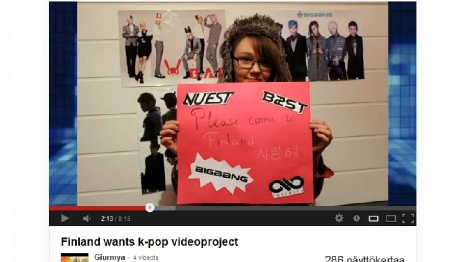 "Fanit viestittävät videolla: ""Finland wants k-pop"" © All Rights Reserved"