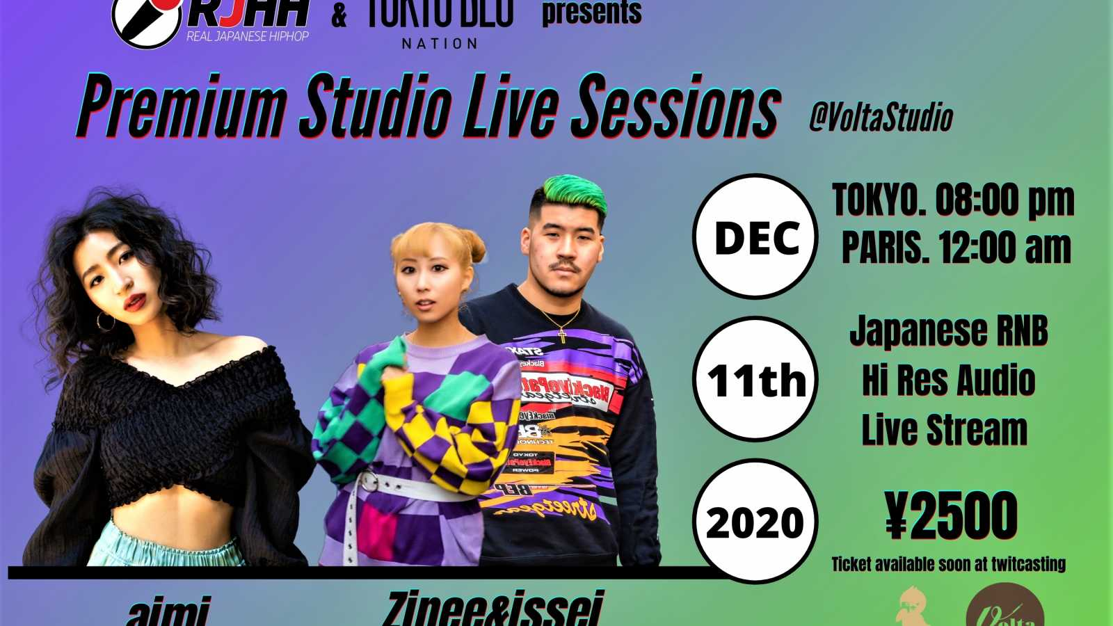 aimi and Zinee&issei to Live Stream Studio Concert © Tokyo BLU Nation & Real Japanese Hip-Hop